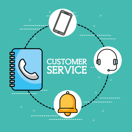 address book headset phone customer service vector illustration