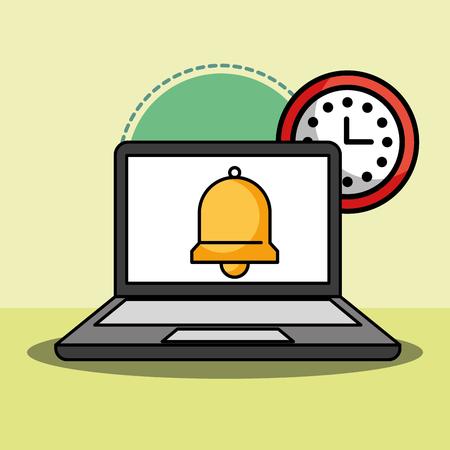 laptop and bell clock customer service vector illustration Archivio Fotografico - 103627739