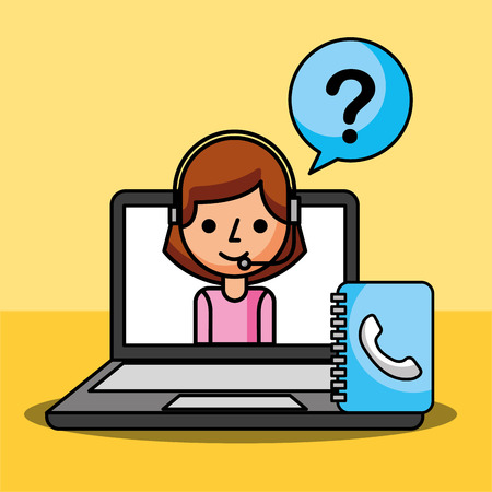woman agent in laptop questions mark customer service vector illustration
