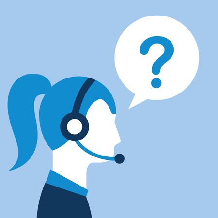 profile woman agent headset question mark customer service vector illustration