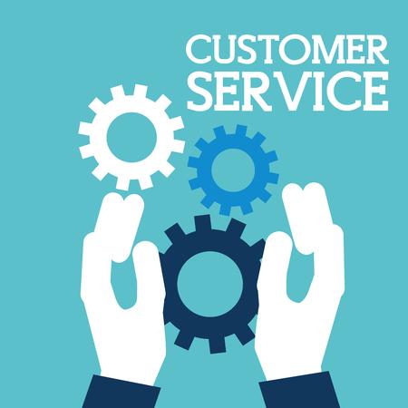 hands holding gears support customer service vector illustration Illustration