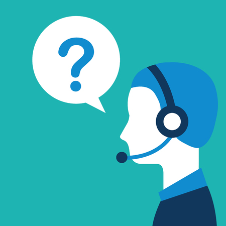 profile operator with headset question mark customer service vector illustration