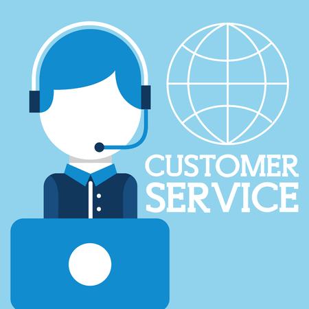 operator man headset laptop world customer service vector illustration