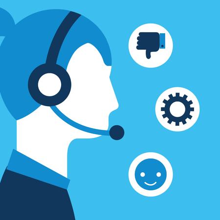 woman dispatcher headset customer service vector illustration Illustration