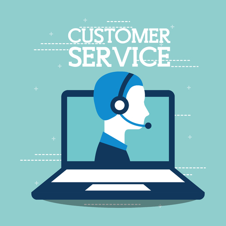 customer service laptop agent support online vector illustration Illustration