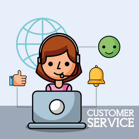 operator working in laptop customer service vector illustration  イラスト・ベクター素材