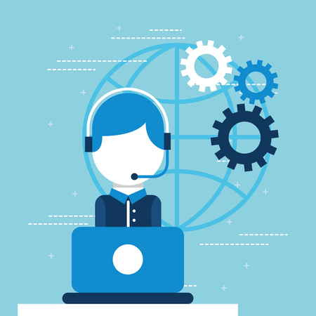 operator with headset using laptop customer service vector illustration