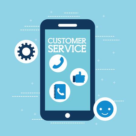 smartphone app digital online customer service vector illustration