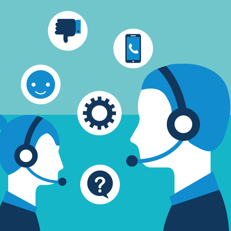 people team with headphones customer service vector illustration