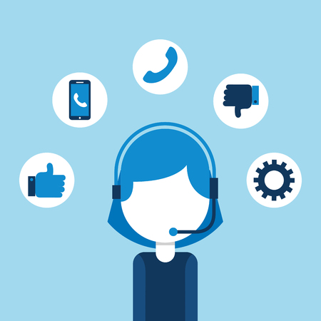 woman agent call center customer service vector illustration 일러스트