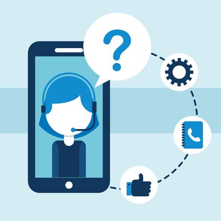 smarthopne call center support app customer service vector illustration