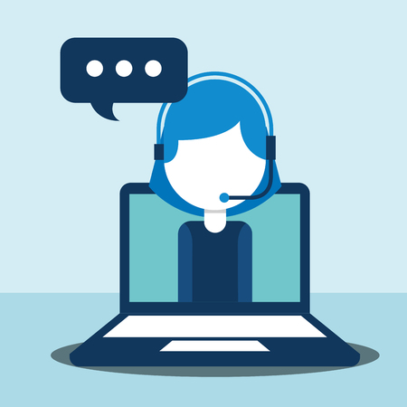 woman agent call center in laptop talking customer service vector illustration Illustration
