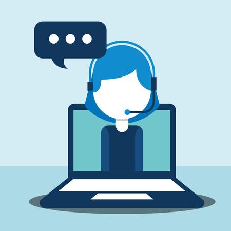 woman agent call center in laptop talking customer service vector illustration  イラスト・ベクター素材