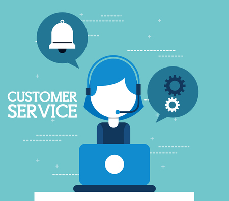 woman agent call center working in laptop customer service vector illustration Illustration