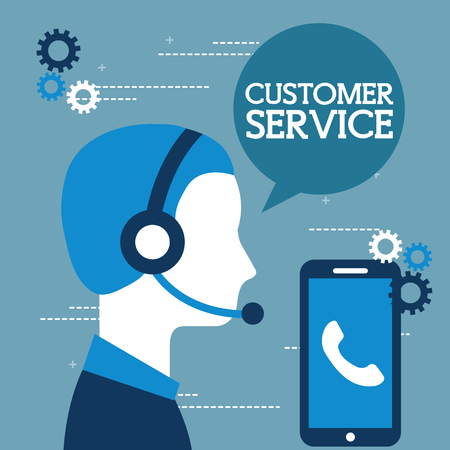 operator with headset and phone customer service vector illustration Çizim