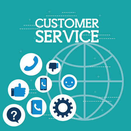 world support anwers phone customer service vector illustration