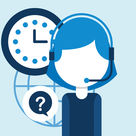 woman agent call center clock questions mark customer service vector illustration