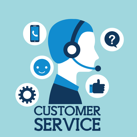 operator with headset call center customer service vector illustration