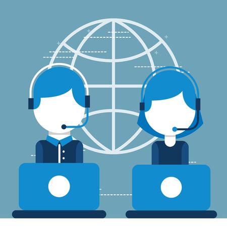 man and woman operators working in laptop helpline customer service vector illustration