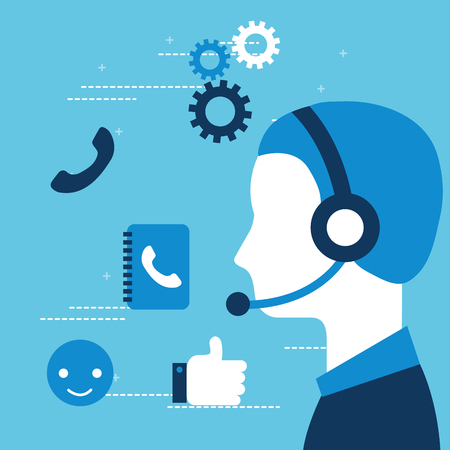 operator with headset customer service vector illustration