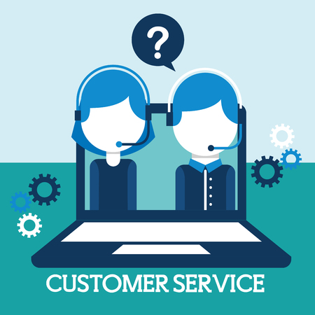 man and woman dispatcher in laptop customer service vector illustration