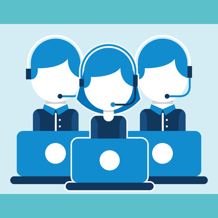 group people team with laptop customer service vector illustration  イラスト・ベクター素材