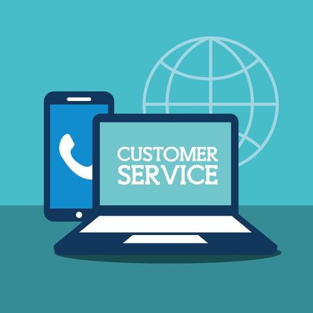 laptop computer smartphone online customer service vector illustration