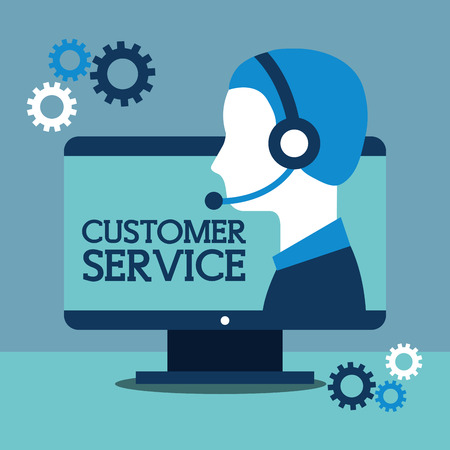 operator with headphones and computer customer service vector illustration Illustration