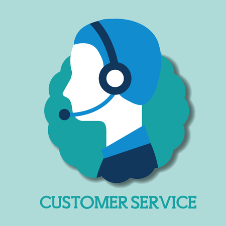 operator with headset customer service vector illustration
