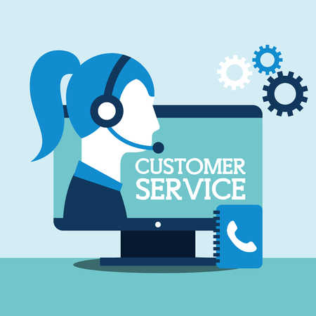 woman agent computer contacts book support customer service vector illustration