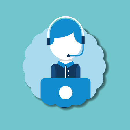 operator headset microphone laptop emblem customer service vector illustration