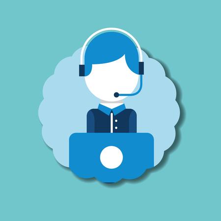 operator headset microphone laptop emblem customer service vector illustration
