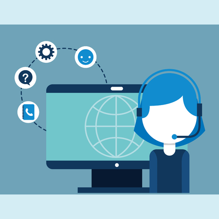 operator woman headset and computer world customer service vector illustration Illustration