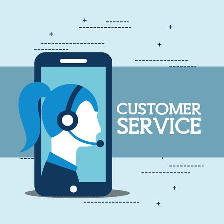 operator woman smartphone with headphones customer service vector illustration