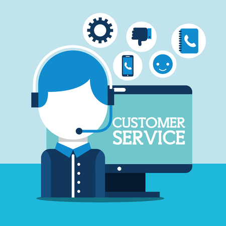 operator with headset computer online customer service vector illustration