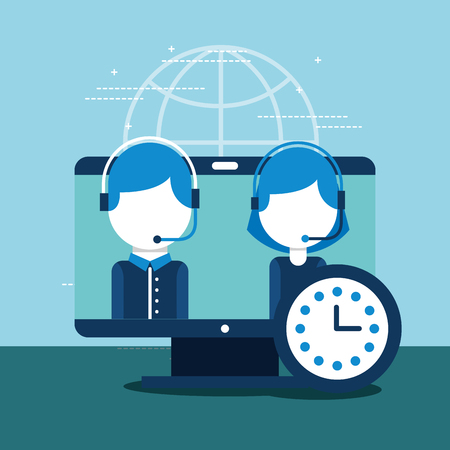people employee computer clock customer service vector illustration