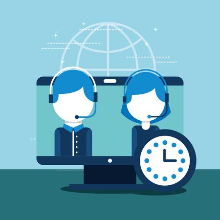 people employee computer clock customer service vector illustration