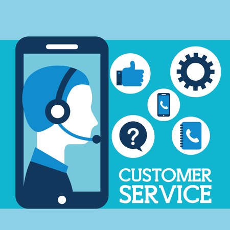 operator with headset phone customer service vector illustration  イラスト・ベクター素材