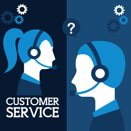 man and woman dispatcher company in laptop customer service vector illustration