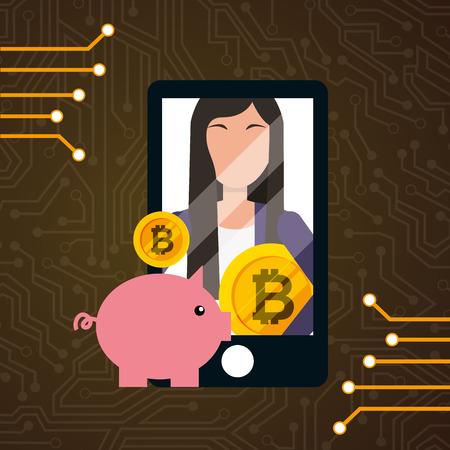 smartphone business woman bitcoin piggy bank vector illustration