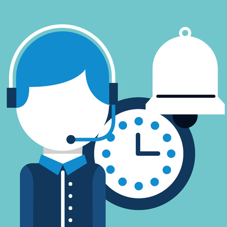 operator with headset clock bell customer service vector illustration Illusztráció