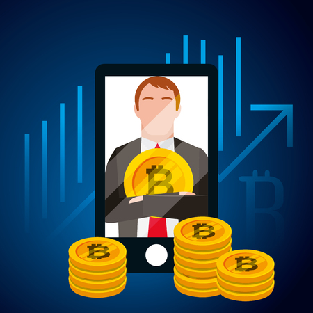 businessman bitcoin smartphone digital business vector illustration