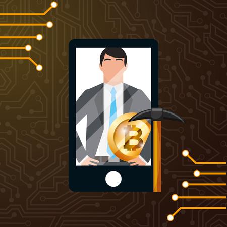 smartphone businessman bitcoin mining pickaxe vector illustration
