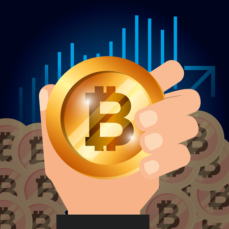 hand holding golden bitcoin cryptocurrency vector illustration 向量圖像