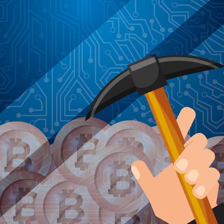hand holding pickaxe bitcoins mining vector illustration