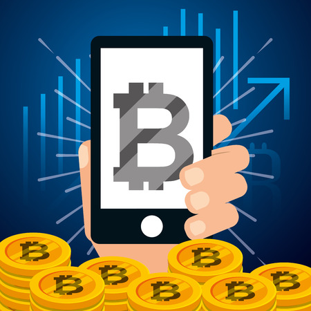 hand holding smartphone bitcoins banking vector illustration Ilustracja