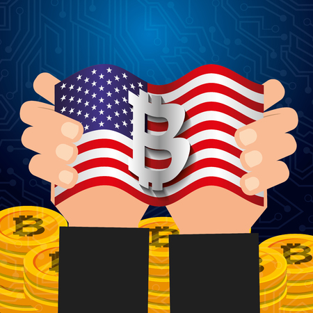 hands with american flag and bitcoin digital vector illustration Illustration