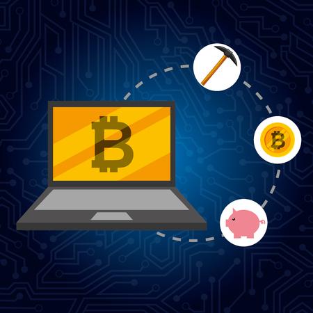 laptop bitcoin piggy money pickaxe connected vector illustration Stock Illustratie