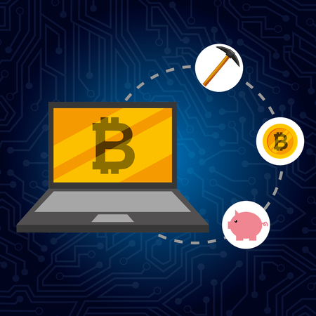 laptop bitcoin piggy money pickaxe connected vector illustration Illustration