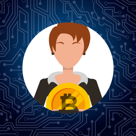 business woman holding bitcoin commerce digital vector illustration